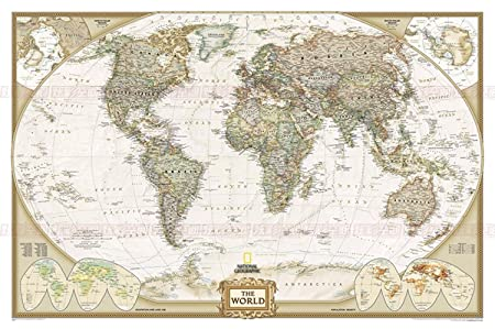 Higoo World Map Canvas Wall Art New Antique Vintage Classic Style