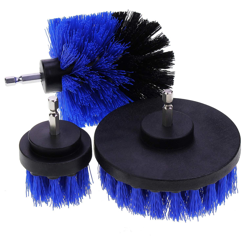 abcGoodefg ドリルブラシアタッチメント ドリルパワー スクラバー クリーニングキット バスルームの表面 シャワー 3個 驚きの値段で B07K66Y8YD 与え 浴槽 ブルー タイルおよび目地用