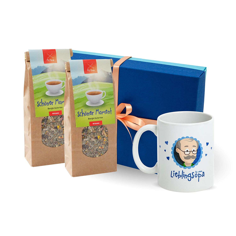 Oma Opa regalo * caja de regalo con tarjeta de té de fruta + Té de hierbas + Gratis * abuelo regalo - Abuela regalo - Regalo großeltern de myoma tamaño ...