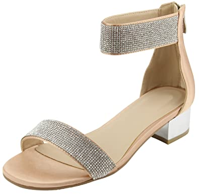 cf1e345b871012 Cambridge Select Women s Open Toe Single Band Ankle Strappy Crystal  Rhinestone Chunky Block Low Mid Heel