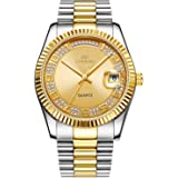 BUREI Unisex Classic Analog Quartz Wrist Watch Gold Dial with Numbers and Rhinestone Date Window Stainless Steel Case and Bracelet