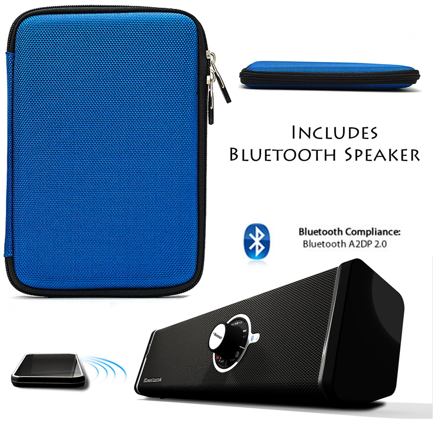 BLUE Protective Durable Hard Cube Nylon Carrying Case, Lightweight Hard Shell Cover For Samsung Galaxy Tab 3 Android Tablet 7-inch Display Thinner Bezel + Supertooth Disco Bluetooth Speaker with AUX Cable