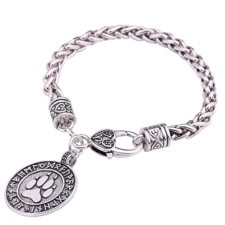 Talisman Wicca runes Ours empreintes de pattes Pendentif blé Chaîne Cadeau Bracelet GeXiang