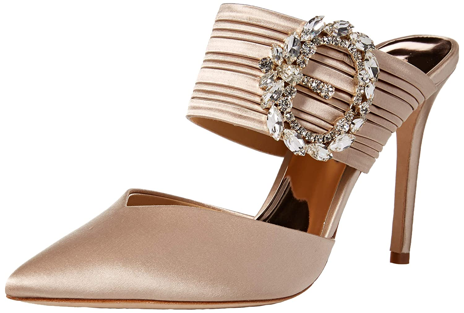 Nude Satin Badgley Mischka Womens Fancy Mule