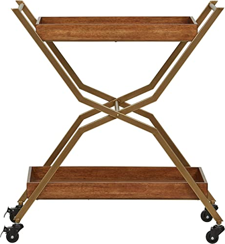 Stone Beam Modern Serving Cart 34.28 H, Bronze, Walnut