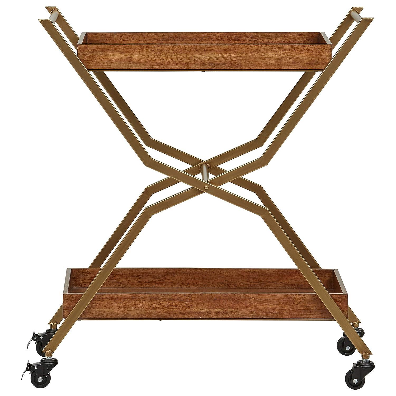 Walnut Stone /& Beam Modern Serving Cart 34.28H Bronze