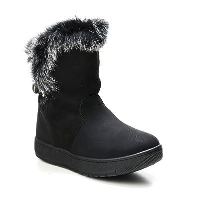 HERIXO Damen Schuhe Stiefelette Stiefel warm gefüttert