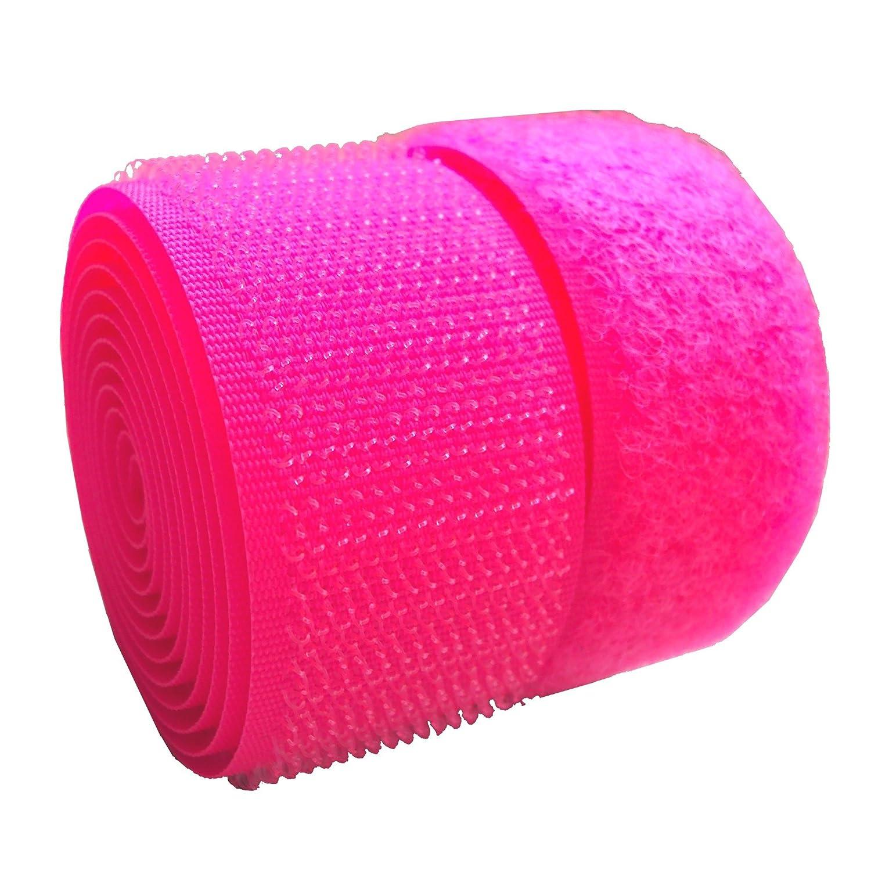 Lovetex 4 (102mm) Luminous Pink Sew on Hook and Loop Fastener Tape 1 pair yard