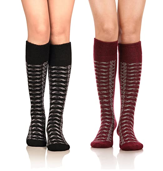 7f80969acaa DoSmart Women s Winter Warm Knee High Socks Boot Socks 2-Pairs Multi Color  (AA