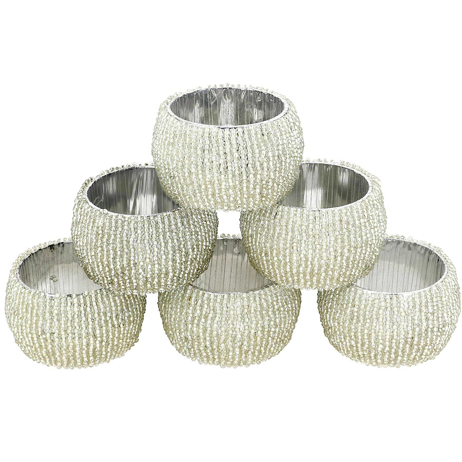 Beaded Napkin Rings Set of 6 Silver Decorations Christmas Ornaments ShalinCraft MN-NHS6S