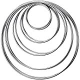 10 Pieces Metal Rings Metal Hoops for Dream Catcher, 5 Sizes (Silver)