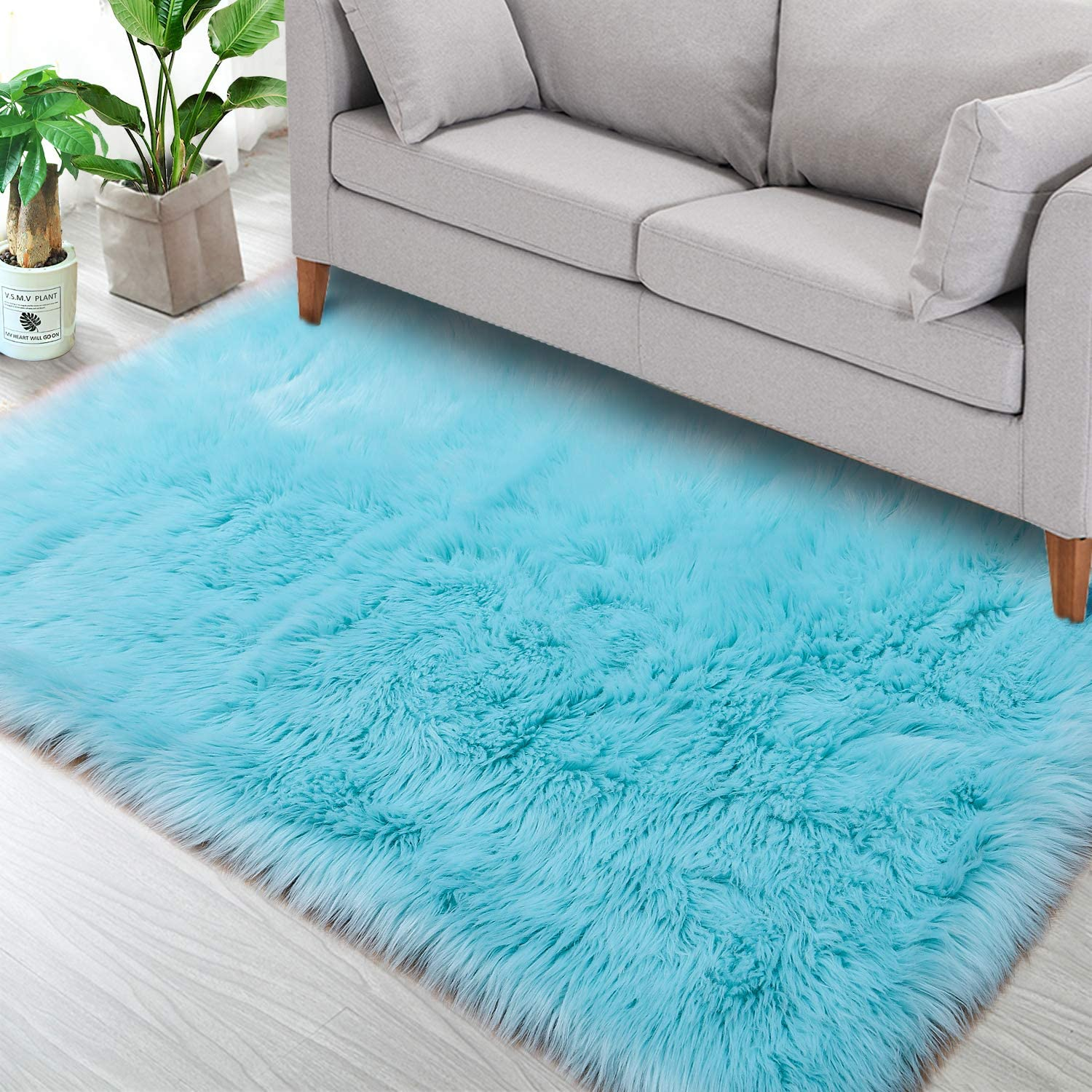 Noahas Luxury Fluffy Rugs Bedroom Furry Carpet Bedside Faux Fur Sheepskin Area Rugs Children Play Princess Room Decor Rug, 3ft x 5ft, Light Blue