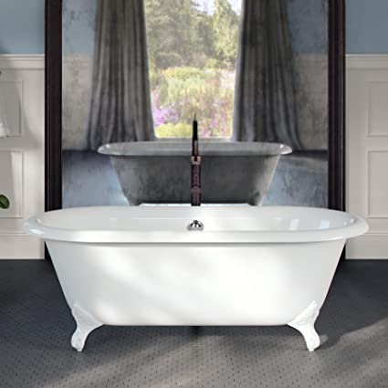 Bon MAYKKE Shirley 67u0026quot; Traditional Oval Clawfoot Tub | Elegant White Cast  Iron Bathtub With Feet
