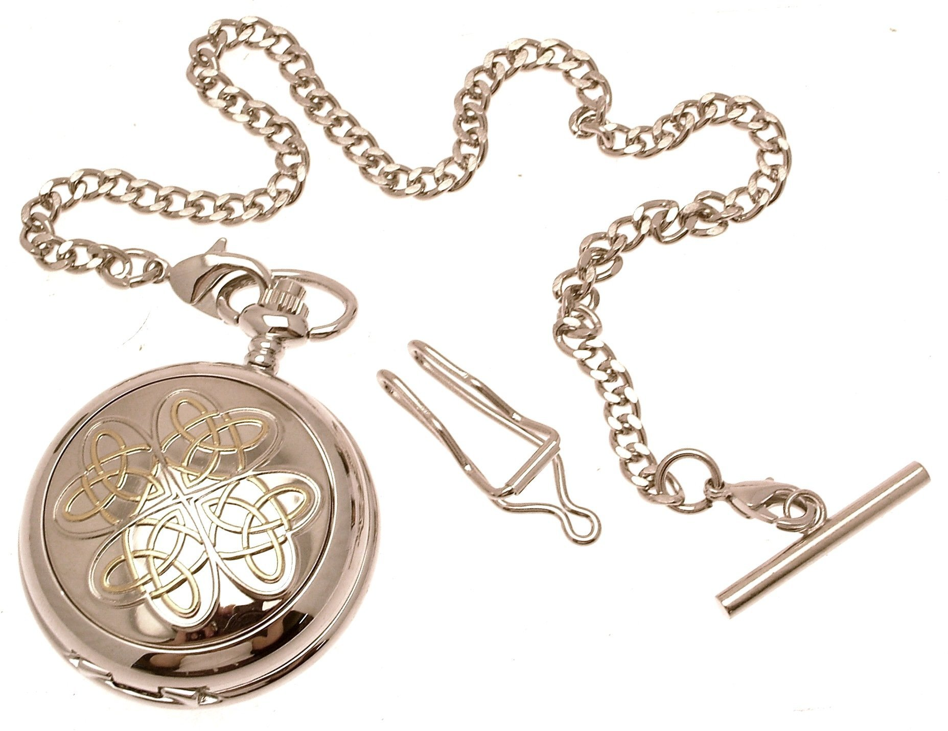 Engraving included - Solid pewter fronted mechanical skeleton pocket watch - Two tone entwined love knot design 9
