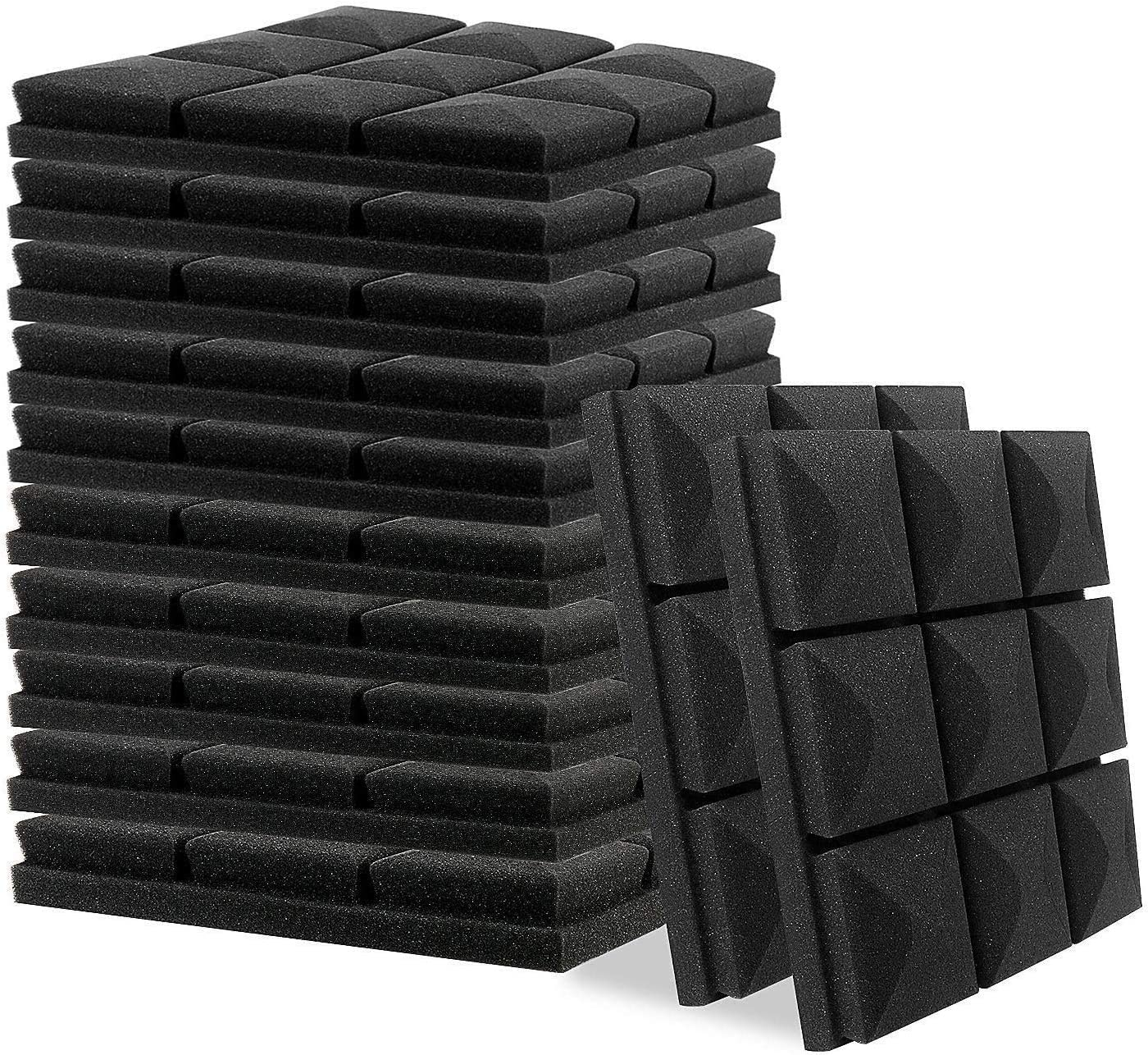 "Little-Lucky Acoustic Foam Panels, 12 Pack Set 2"" X 12"" X 12"" Studio Wedge Tiles, Sound Absorber Soundproofing Wall Foam Acoustic Panels Control Sound Dampening Foam (12Pack, Black)"