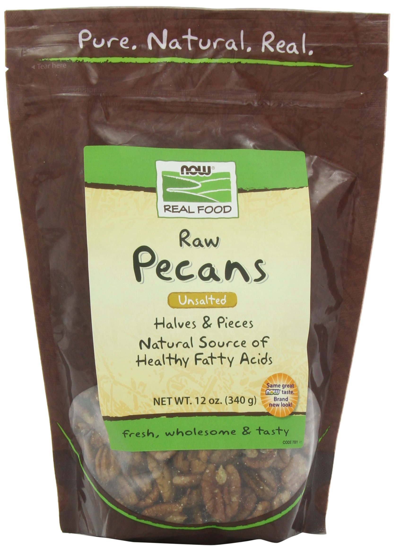 NOW Foods Raw Pecans,  12-Ounce(Pack of 3)