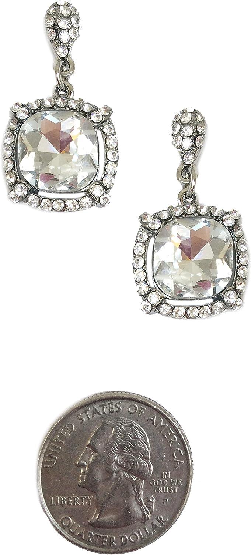 Art Deco - Pendientes de boda estilo retro, estilo antiguo, diseño de princesa con diamantes de imitación