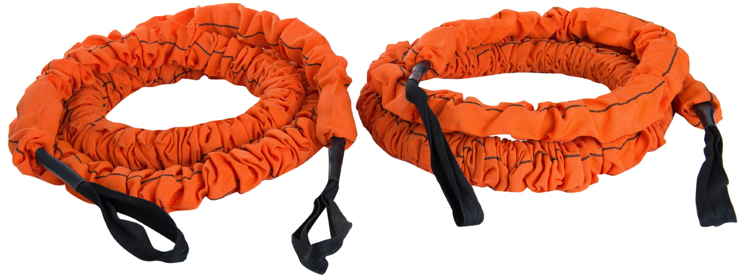 Stroops MMA 20 ft. The Beast Battle Rope Slastix with Orange Fabric Loops by STROOPS
