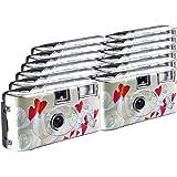 TopShot Lot de 12 appareils photo jetables Flying Hearts pour 27 photos avec flash