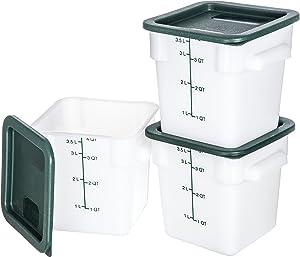 Carlisle 10731-302 Plastic Square Food Storage Container with Lids, 4 Quarts, White (Set of 3)