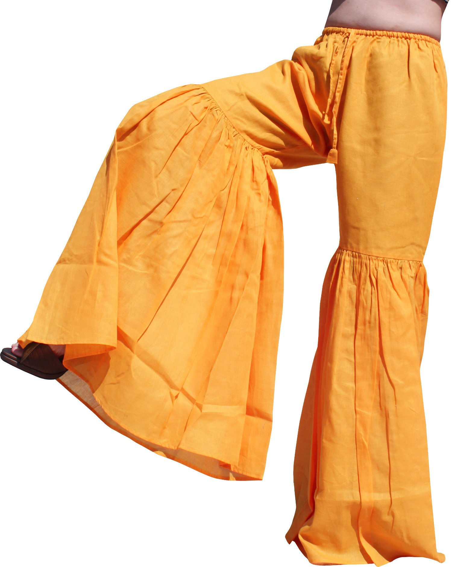 Raan Pah Muang RaanPahMuang Brand Wide Lower Leg Flared Light Cotton Stepped Pants Baggy Cut, Medium, Orange by Raan Pah Muang
