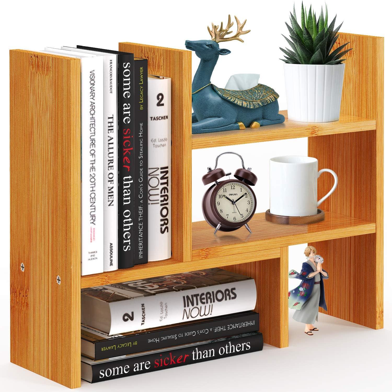 Pipishell Bamboo Desktop Bookshelf Organizer, Large Office Desk Storage Shelf Rack, Natural Wood Adjustable Tabletop Display Corner Countertop Bookcase Shelves for Office Supplies, Home Decor, Kitchen