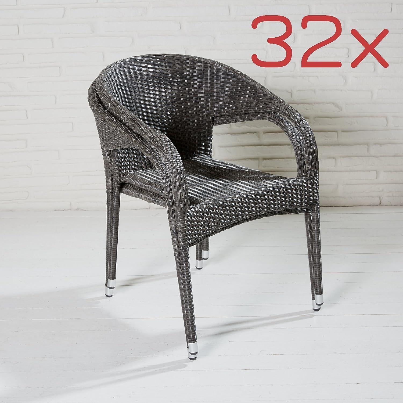 32 stapelb. Gartenstühle dunkelgrau Rattanoptik Balkonstühle Stapelstühle Stahl