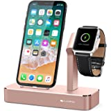 iVAPO Apple Watch Stand Solid Aluminum Charging Holder for iPhone X/8/8 Plus/7/7 Plus and Apple Watch Series 3/Series 2-Rose Gold