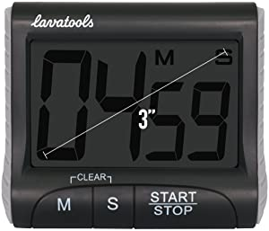 Lavatools KT1 Digital Kitchen Timer & Stopwatch, Large Digits, Loud Alarm, Magnetic Stand (Black) (Color: Black)