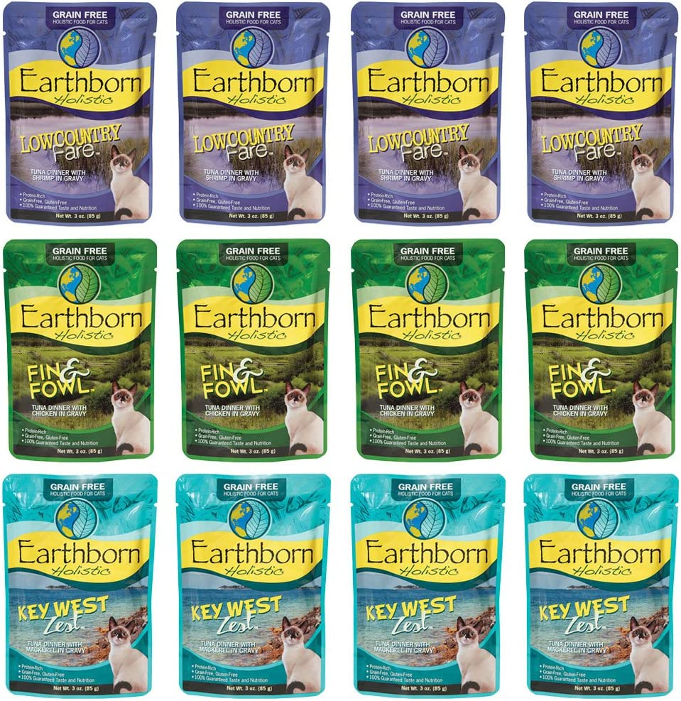 Earthborn Holistic Grain Free Wet Cat Food in Gravy Pouches - 3 Ounces Each - 3 Flavors - Fin & Fowl, Lowcountry Fare, and Keywest Zest (12 Pouches Total)