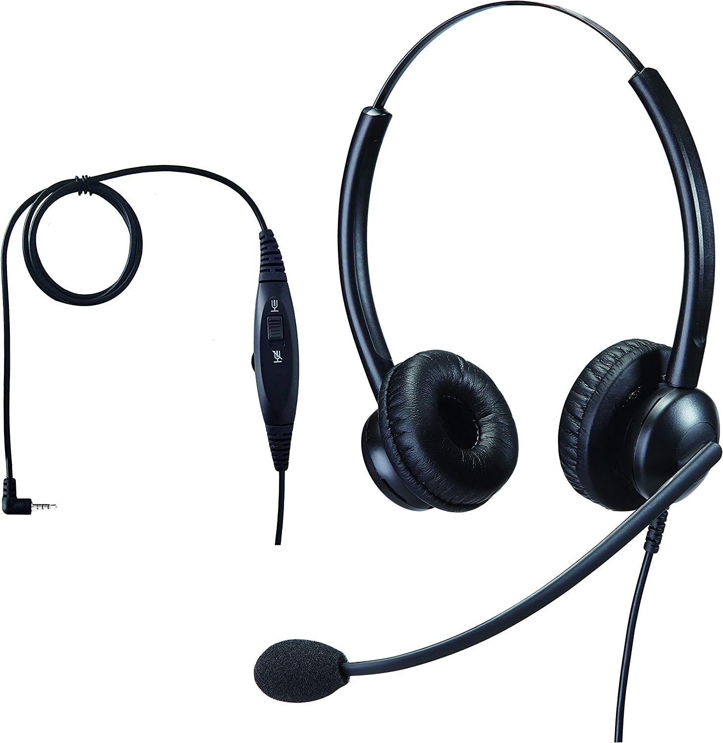 Jiade 2.5mm Jack Stereo Binaural Telephone Headset with Noise Cancelling Microphone for Landline Vtech Uniden Yealink Cisco Polycom Panasonic UnidenCall Center Home Office and Cordless Dect Phones