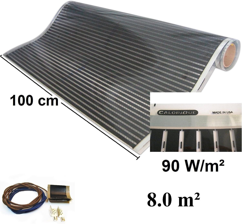 effiziente und kosteng/ünstige Heizung f/ür Neubau oder Altbau-Sanierung Calorique Infrarot Heizfolie Elektrische Fu/ßbodenheizung 100 cm Set 90 W//m/² 7,0 m/²