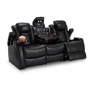 Seatcraft 162E51151459-V1 Omega Leather Gel Home Theater Seating Power Recline Multimedia Sofa, Black