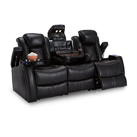 Seatcraft Omega Leather Gel Home Theater Seating Power Recline Multimedia Sofa, Black