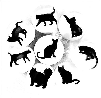 Set di 8 pomelli in ceramica gatto silhouette di French mobili ...