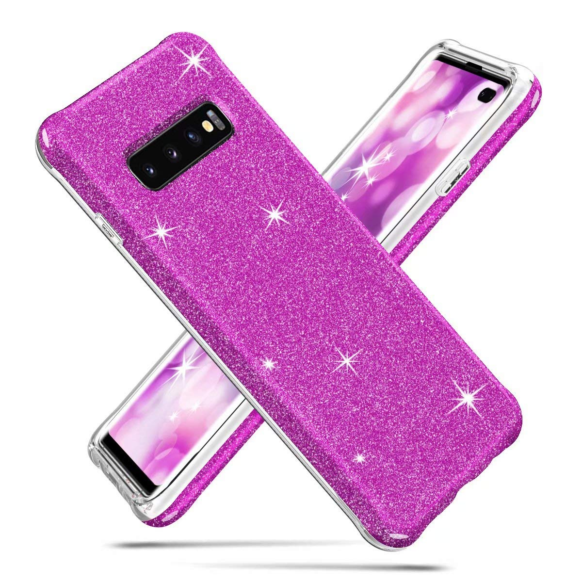 Galaxy S10 Plus Case, Ranyi Full Body Protective Crystal Transparent Cover Hybrid Bumper [Supported Wireless Charging] Shock Absorbing Flexible Resilient TPU Case for Samsung Galaxy S10 Plus (Purple) by Ranyi