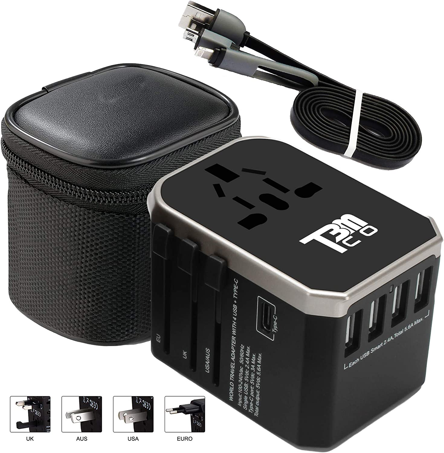 T3MCO Travel Adapter - UK to Europe - USA AUS EU UK Adaptor - Universal - Use Internationally - 5 Colors with Carry Case and Charging Cable for iPhones and Andriod - Ideal for Your Next Trip Abroad