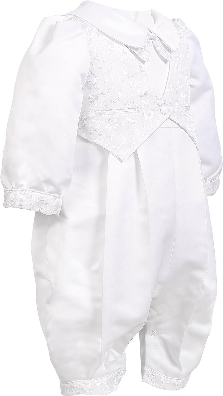 NIMBLE Baby Boys Newborn Christening Baptism Infant Satin Romper Outfit,0-12M