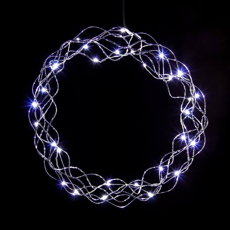 LED Kranz Lichterkranz in kaltweiß oder warmweiß mit Timer-Funktion und Batterie (30 cm), Farb-Design:Silberdraht / weisse LEDs Pridea