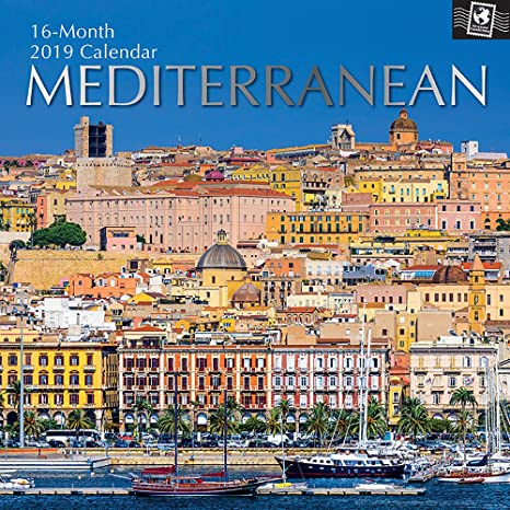 2019 Wall Calendar - Mediterranean Calendar, 12 x 12 Inch Monthly View, 16-Month, Travel and Destination Theme, Includes 180 Reminder Stickers