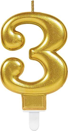 CARPETA® Número Vela * Número 2 * en oro con ranuras Soporte ...