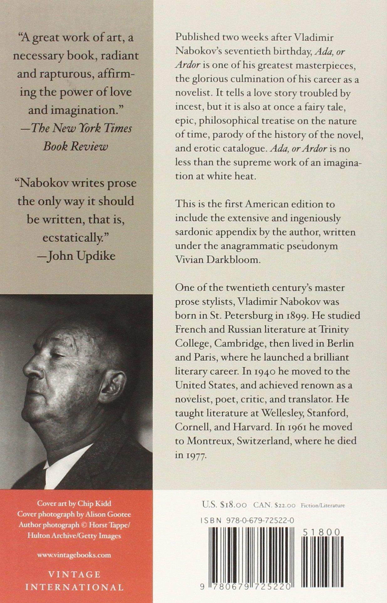 Ada, Or Ardor: A Family Chronicle: Vladimir Nabokov: 9780679725220:  Amazon: Books