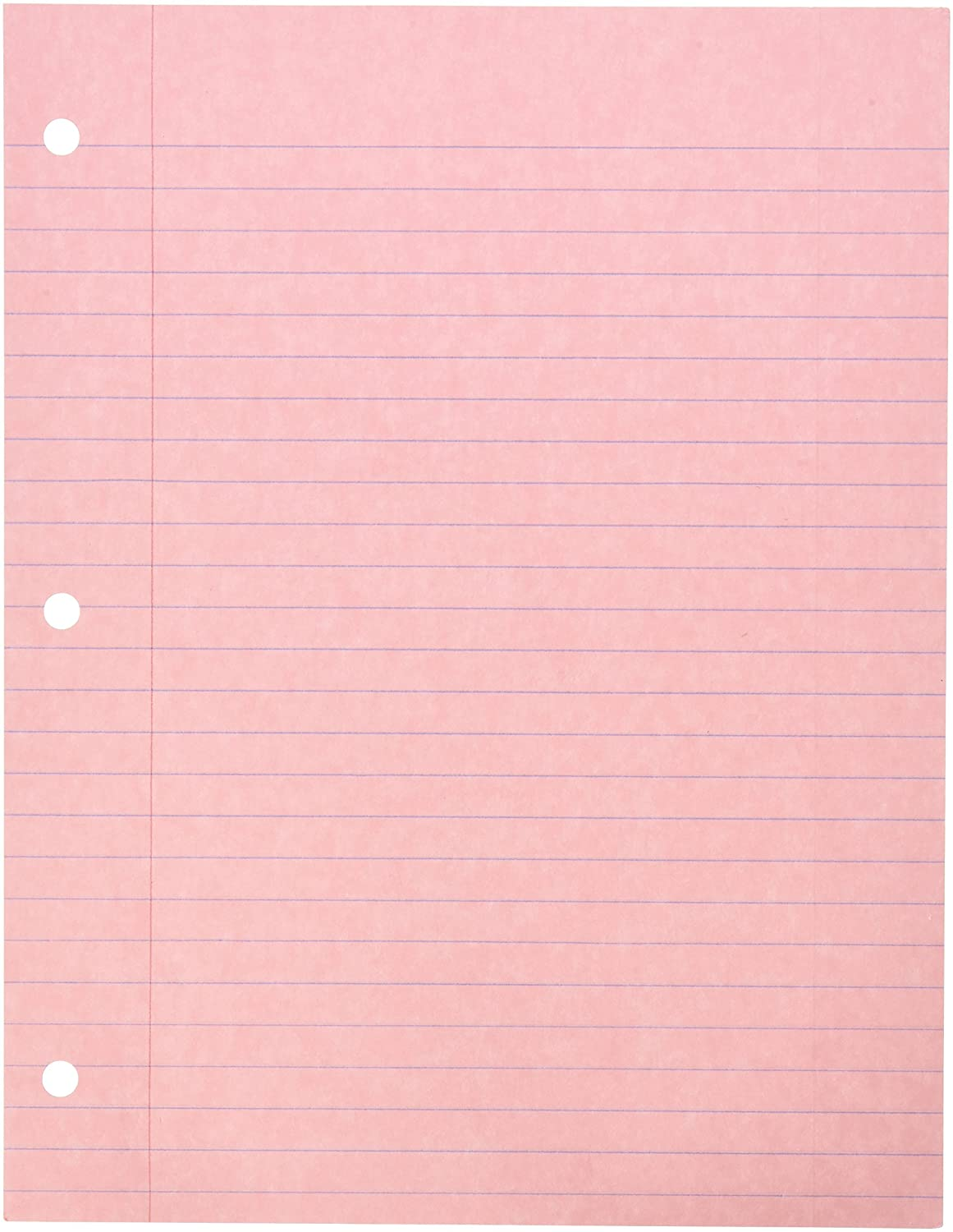 School Specialty 087155 3-Hole Punched Notebook Filler Paper, 8 1/2 x 11, Pink (Pack of 100) 8 1/2 x 11 AMERICAN PAPER CONVERTERS INC
