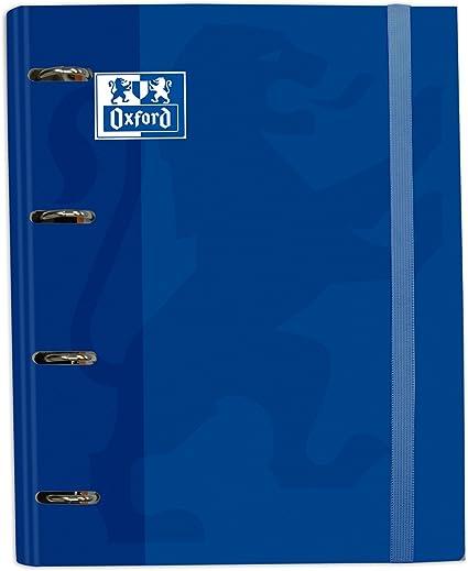 Oferta amazon: Archivador 4 anillas con recambio y goma Oxford, Tapa Extradura A4+ con Recambio 100 Hojas, Cuadrícula 5x5, Color Azul