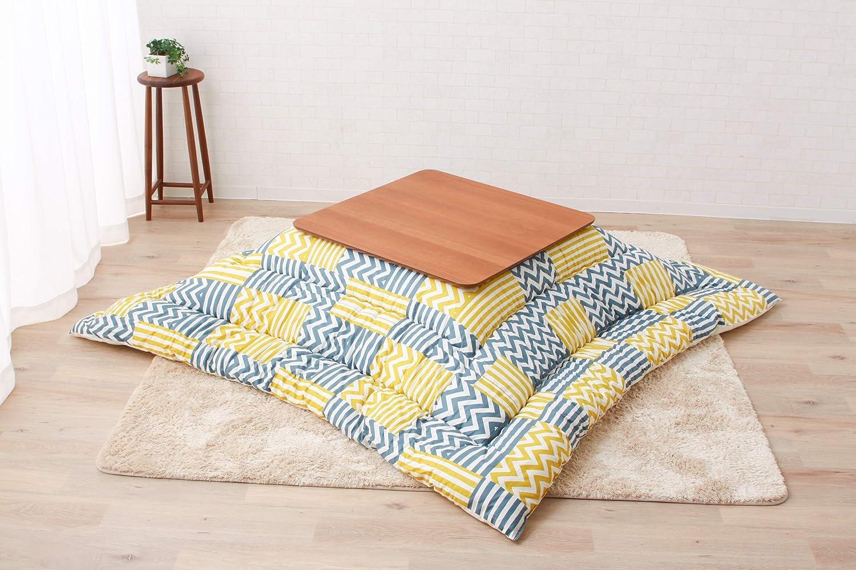 EMOOR Made in Japan Zig-Zag Pattern Kotatsu Futon Comforter Kente, Cotton Fabric, Square, Yellow (NO Table)