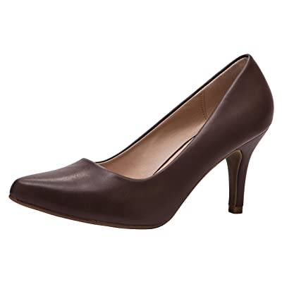 Cambridge Select Women's Classic Pointed Toe Slip-On Mid Heel Pump | Shoes
