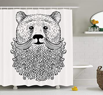 Afagahahs Indie Shower Curtain Doodle Style Sketch Bear Portrait With Curly Beard And Mustache Cute Cool