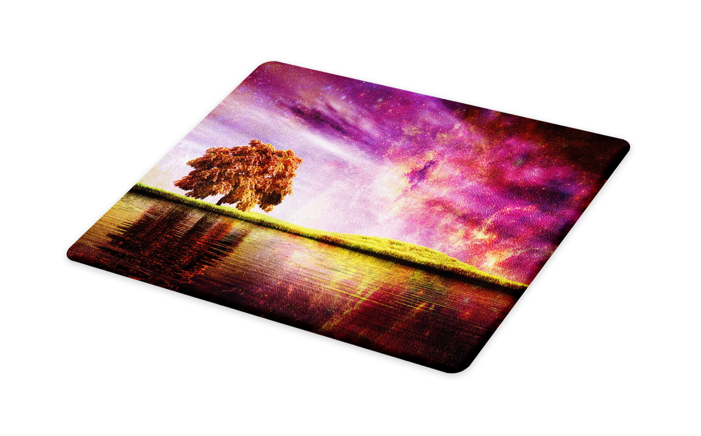 Lunarable Magical Cutting Board, Supernatural Sky Scenery with Mystical Northern Solar Theme and Star Clusters Photo, Decorative Tempered Glass Cutting and Serving Board, Large Size, Purple