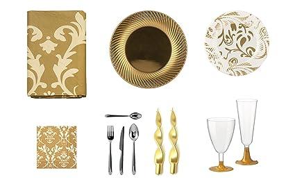 girm® – Tabla Gold 01B – coordinati de tabla dorado, platos llanos Oro,