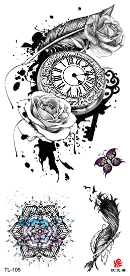 Amazoncom Retro Clock Rose Feather Temporary Tattoo Adult Fake